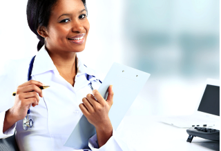 nurse with stethoscope holding a folder